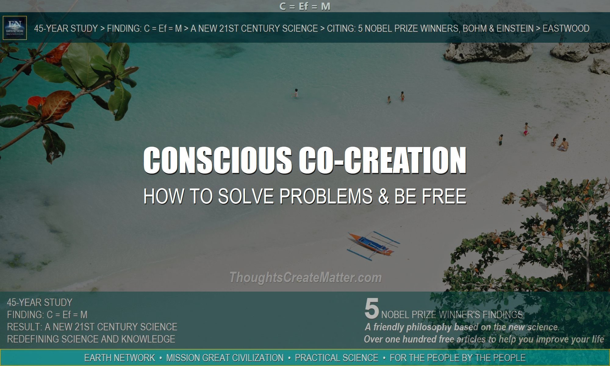Beach depicts life of freedom after using conscious co-creation to clear the conscious mind of impediments and solve life problems.