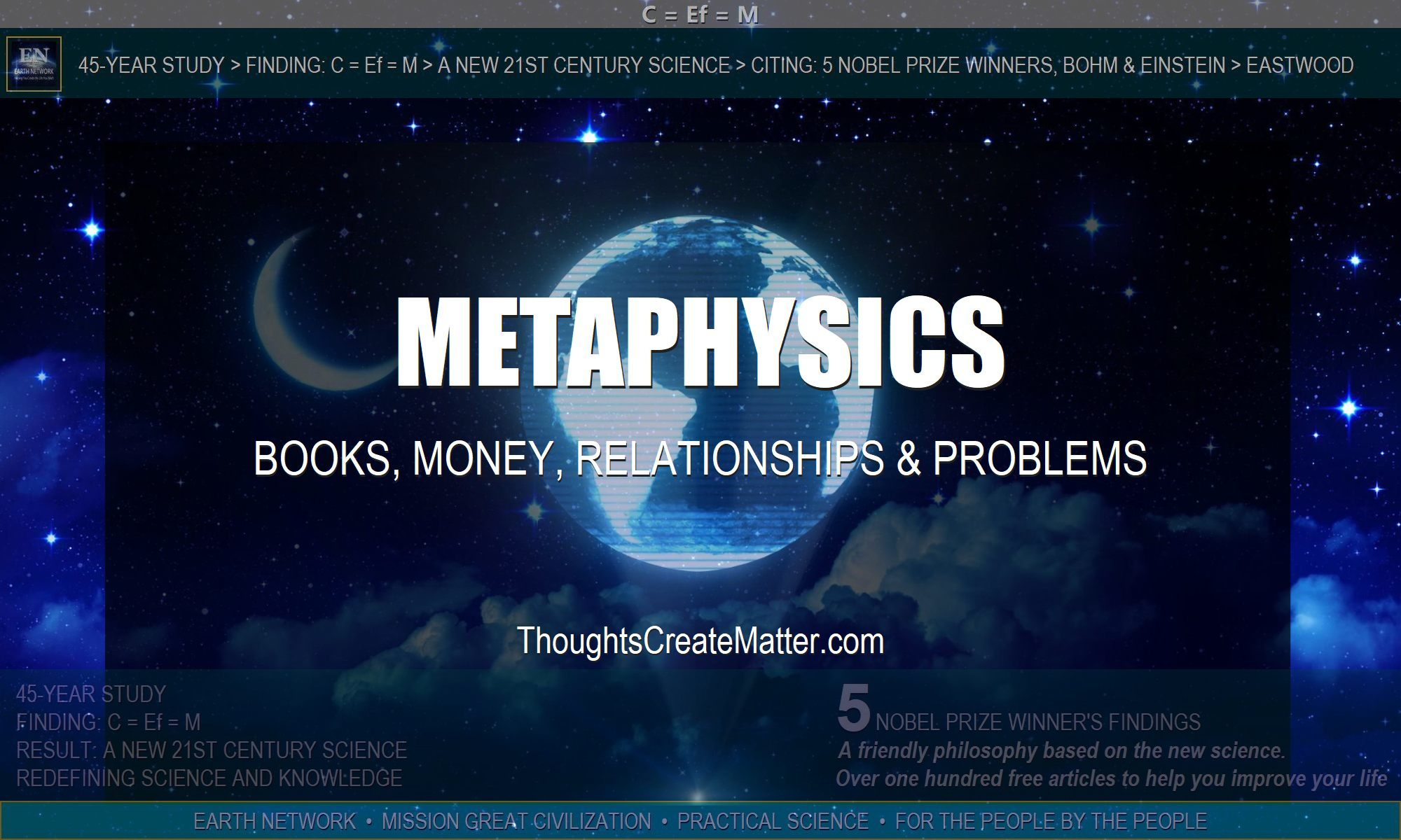 Universe depicts the metaphysical solutions given in metaphysical books on money, relationships and solving problems.