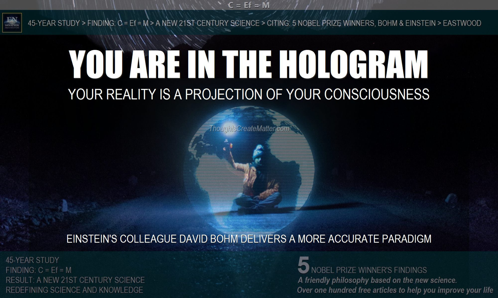 Man in hologram depicts the scientific paradigm of Einstein's colleague David Bohm. Your consciousness and thoughts create and project your reality
