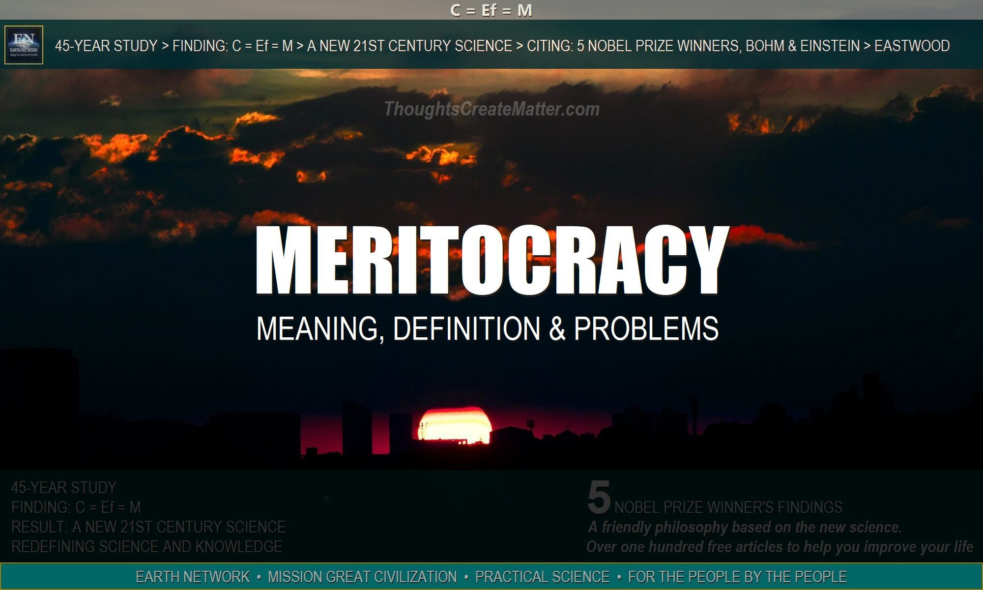 dark sunset over city depict problems with our meritocracy. sky depicts problems with our meritocracy. Meaning, definition and outward focused civilization.