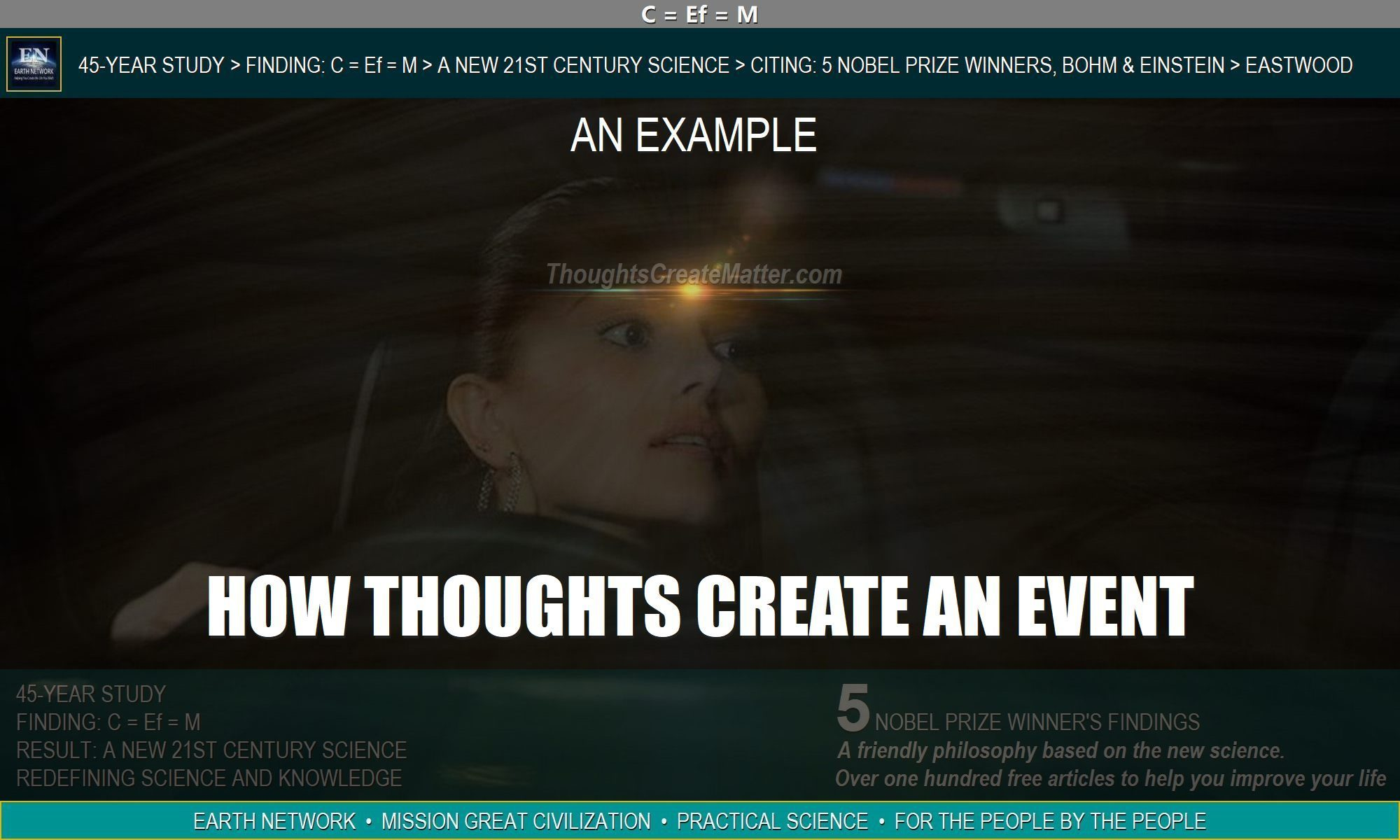 Woman almost crashing car as an example of how your thoughts create an event. And how thoughts create matter.