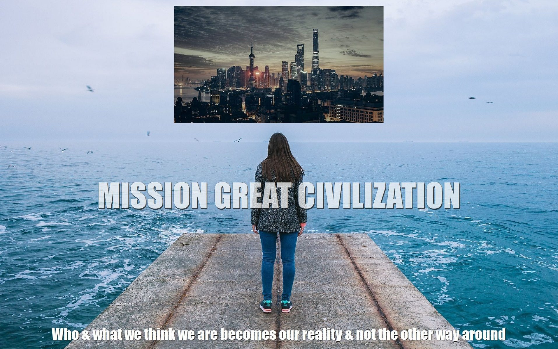 Woman visualizing great-civilization