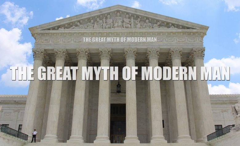 us court with the words the great myths of modern man on the front of the building