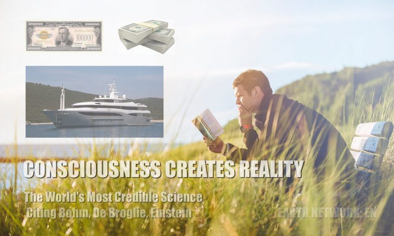 Man reading at beach and manifesting yacht