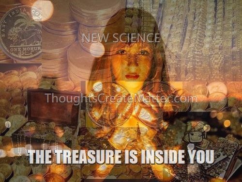 Woman with treasure denotes inner riches available to all