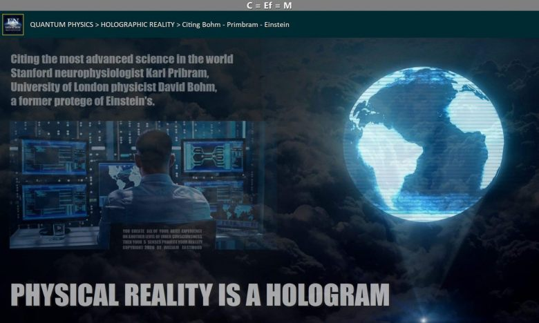 man at control panel in clouds controlling hologram of earth depicts how thoughts create matter and events