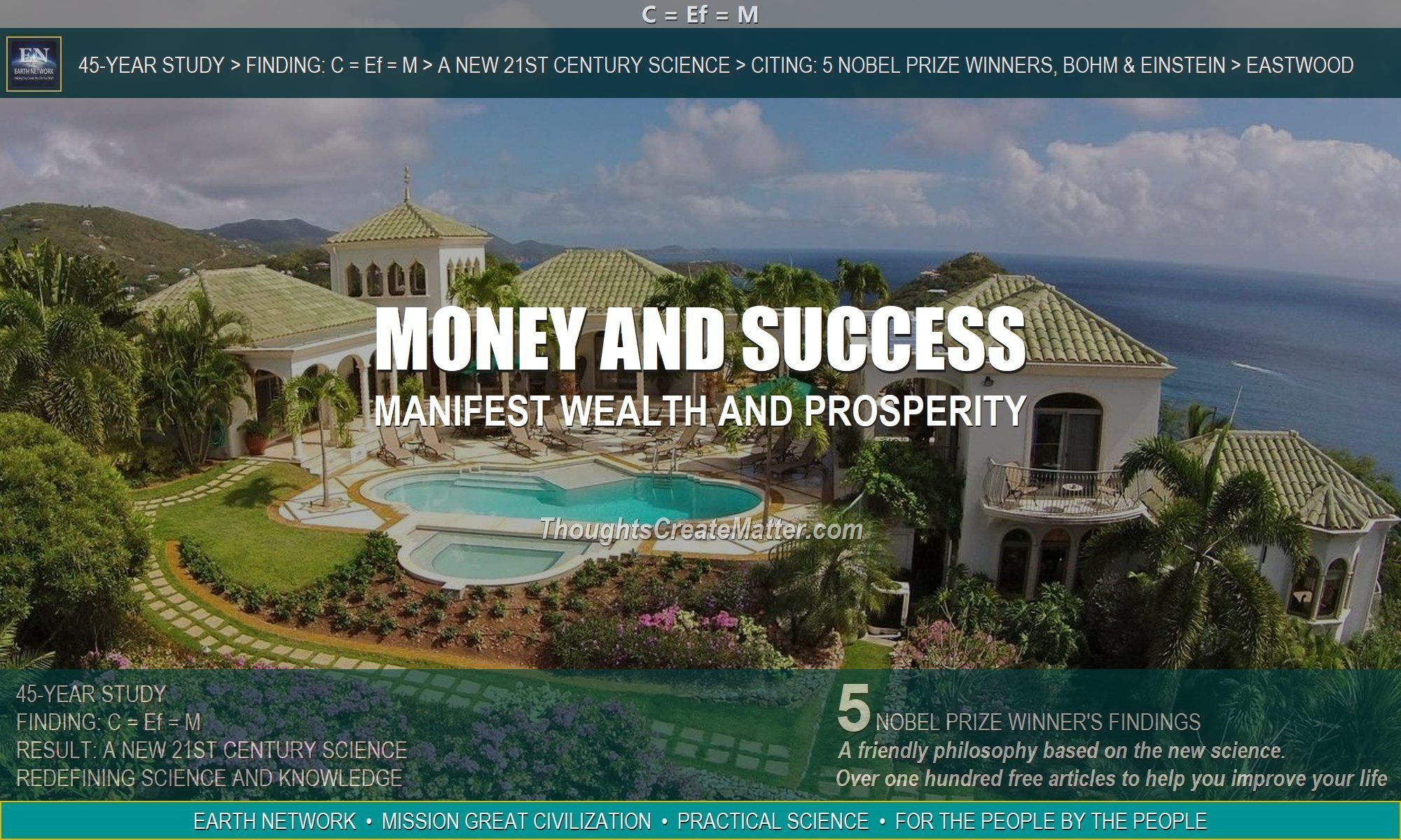 Estate on tropical island depicts how your thoughts can create money, success and wealth.