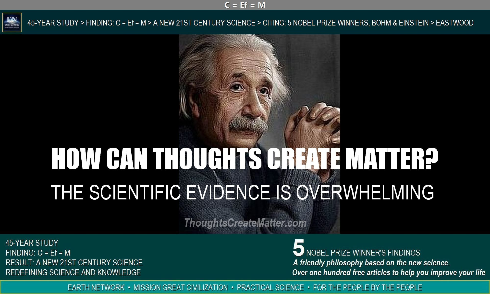 Einstein, being quoted in article, sets the stage for new science. How can thoughts create matter? There is scientific evidence and examples in this article.